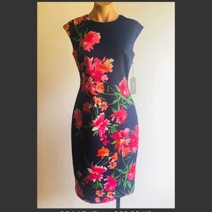 Vince Camuto Blue Floral Print Sheath Dress Sz 6